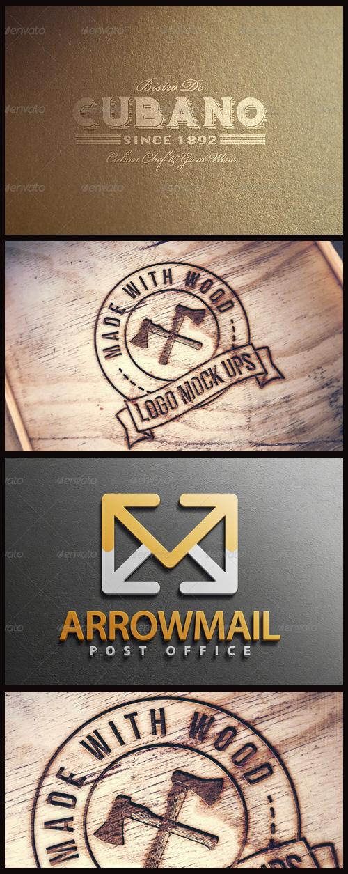 Logo Mock-Ups - Engraved Wood, Styrofoam, Golden on Stargold Paper
