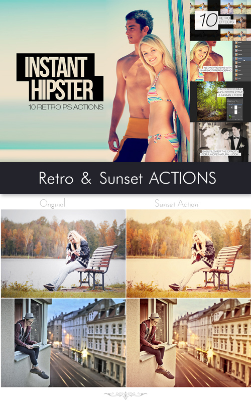 Photoshop Actions - 10 Retro & Sunset