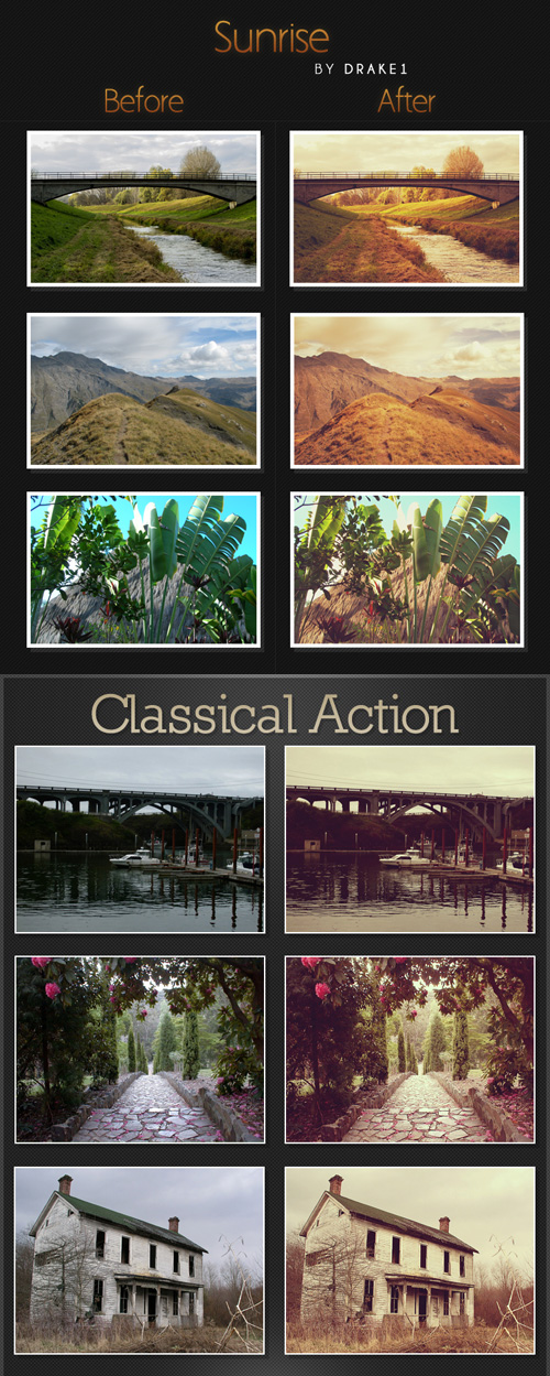 Photoshop Actions - Sunrise & Classical