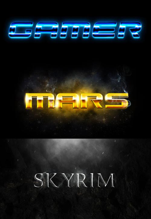 Photoshop Styles - Gamer, Mars, Skyrim