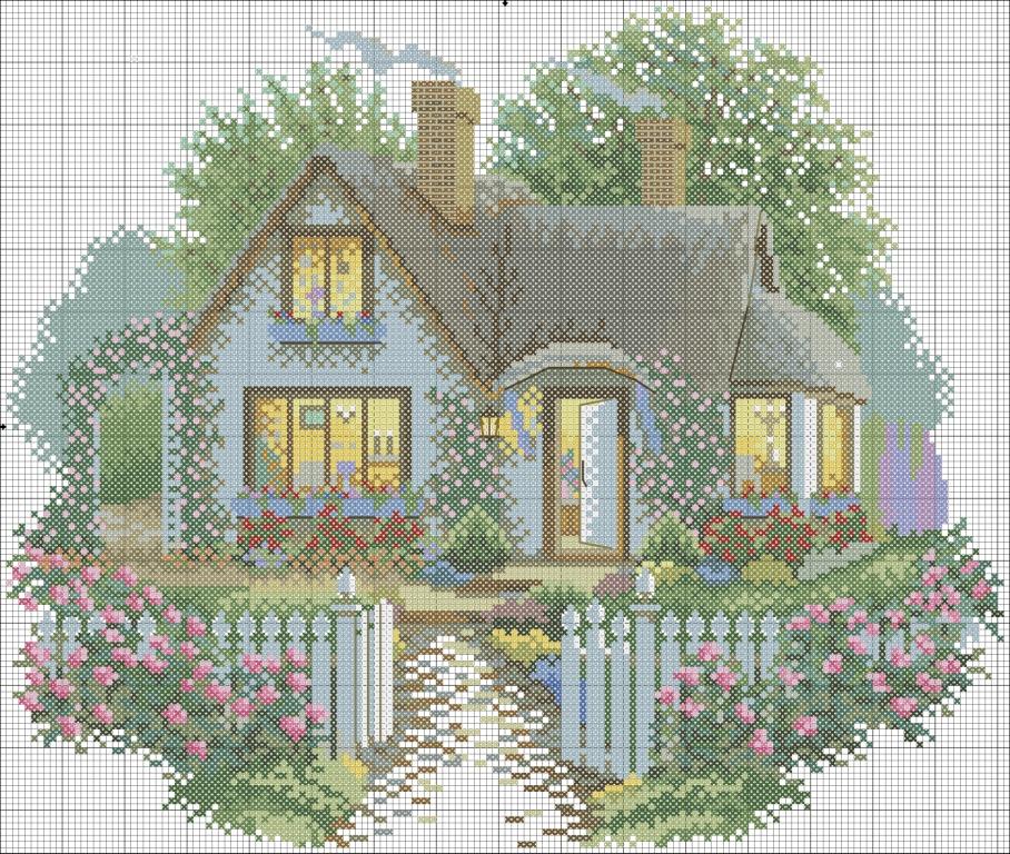 Вышивка крестиком дома домики 62