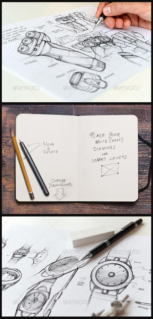 3 Sketchbook Mock-Ups, part 1