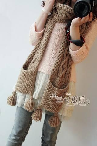 Вязанный шарф с карманами