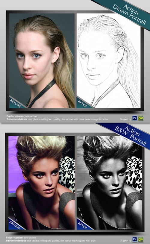 Photoshop Actions - Drawn and B&W portrait