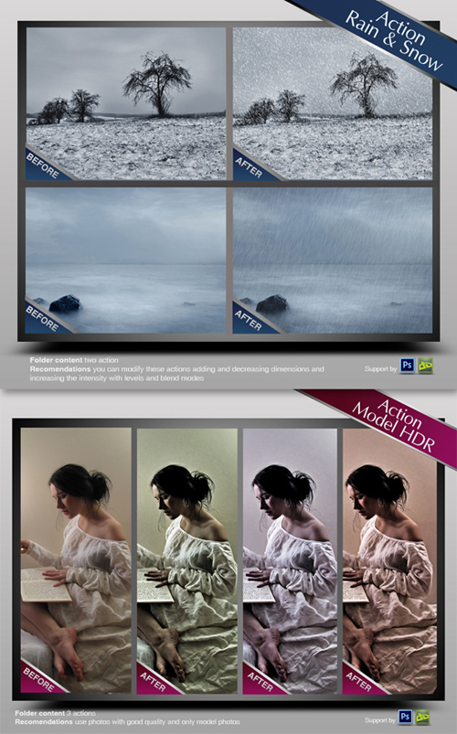 Photoshop Actions - Rain & Snow, Model HDR