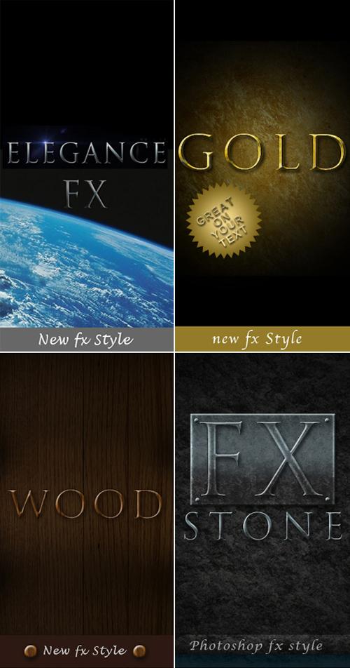 Photoshop Styles - Elegance, Gold, Stone, Wood