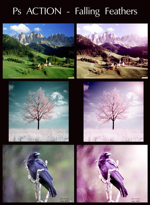 Photoshop Action - Falling Feathers