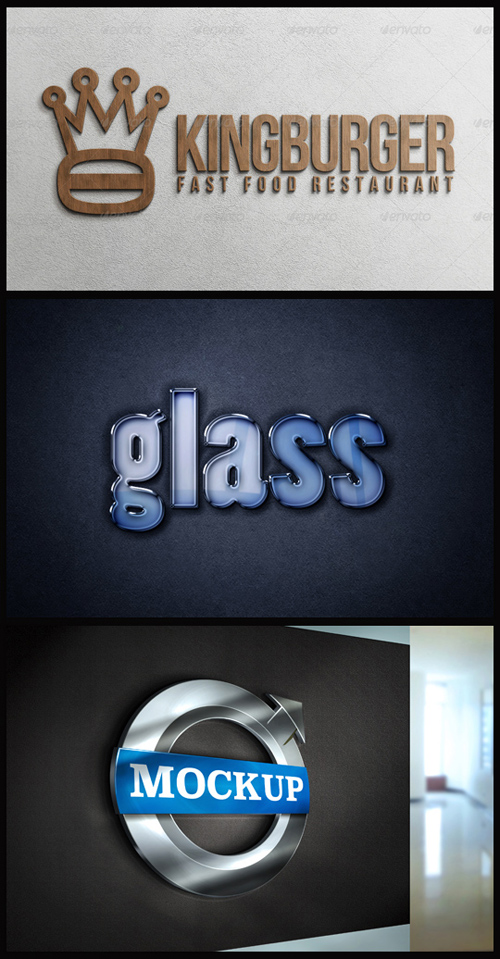 Logo Mock-Ups - Plywood, Glass Text, Logo on Matt Wall
