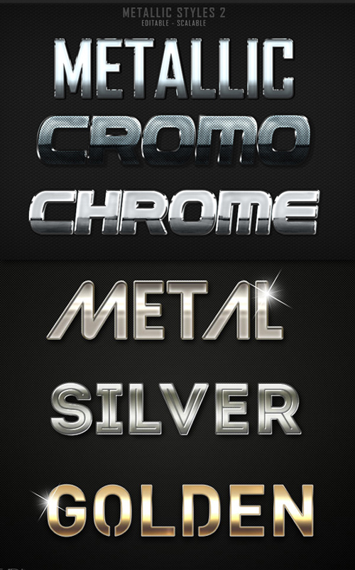 Metallic Photoshop Styles, pack 2
