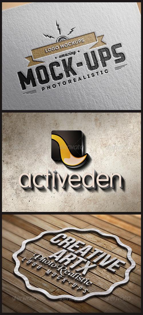 Logo Mock-Ups - On Cardboard, 3D Logo on Wall and Wood