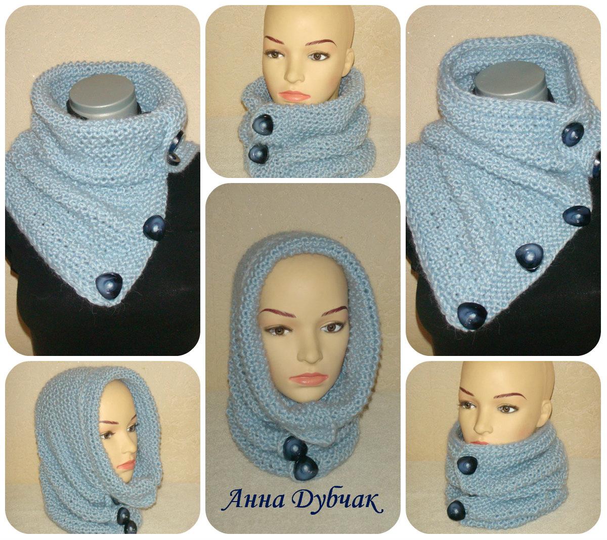 Вязание шарфов с пуговицами спицами схемы