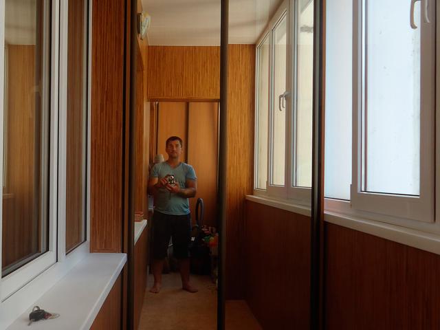 Встроенный шкаф купе, зеркальный, 2500*1015, профиль Аристо, шампань.