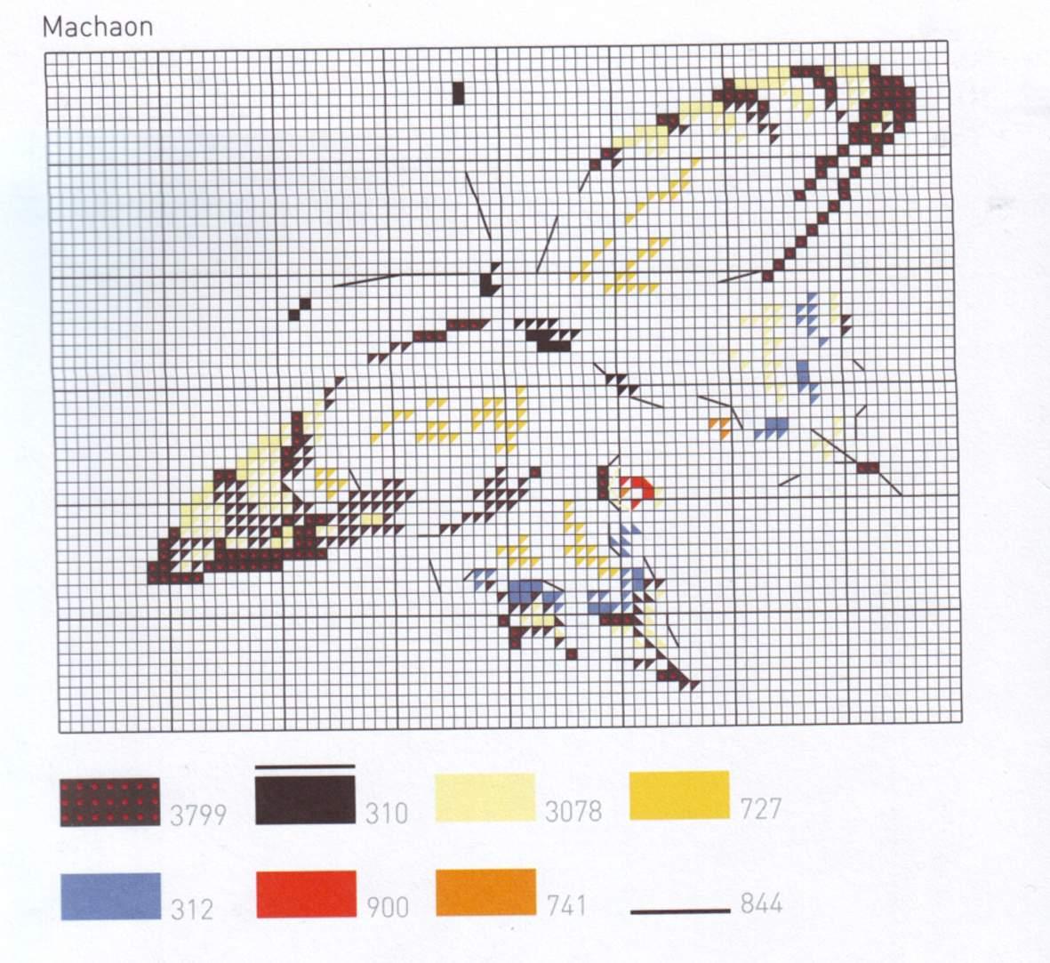 Схемы контурных монохромных вышивок