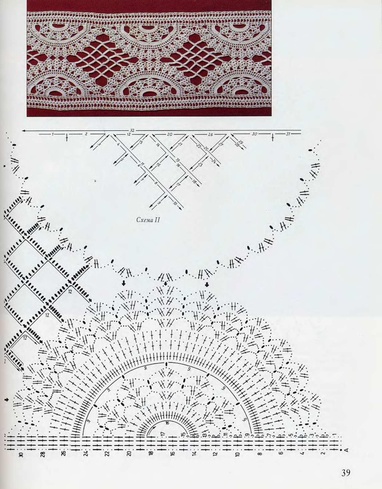 Кружева вязание со схемами и описанием