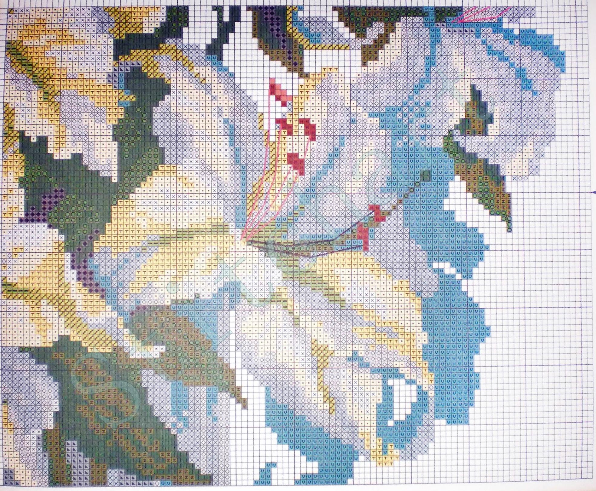 Схема для вышивки крестом лилия 175