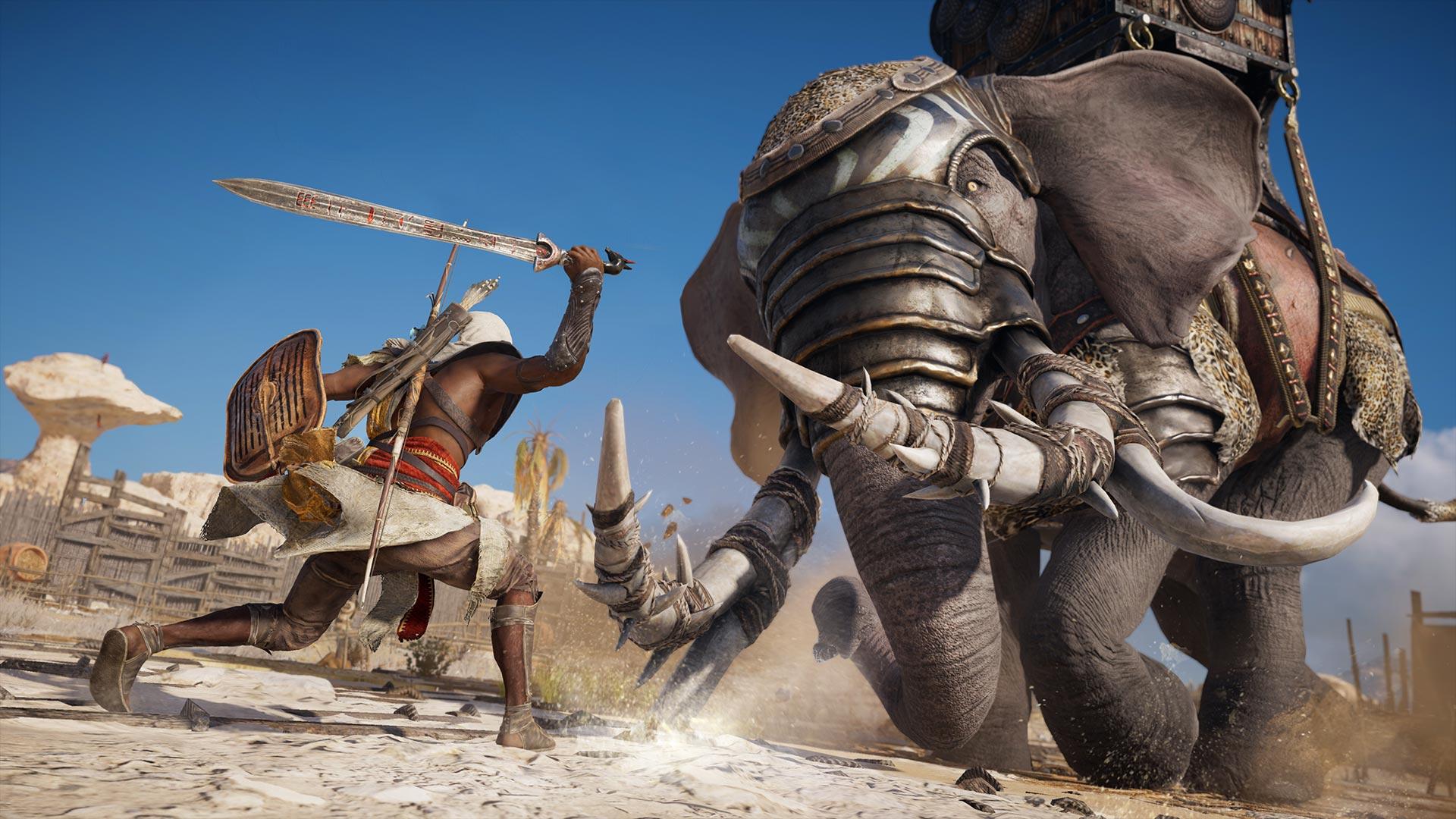 Геймер забил слона до смерти голыми руками в Assassin's Creed: Origins