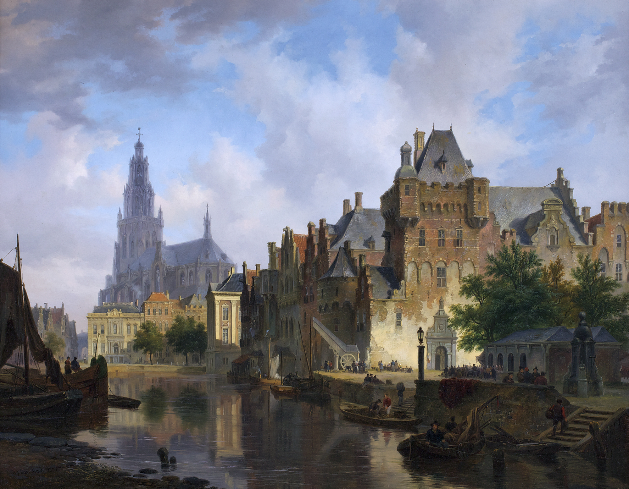 Bartholomeus van Hove fancy cityscape with the mauritshuis (1837)