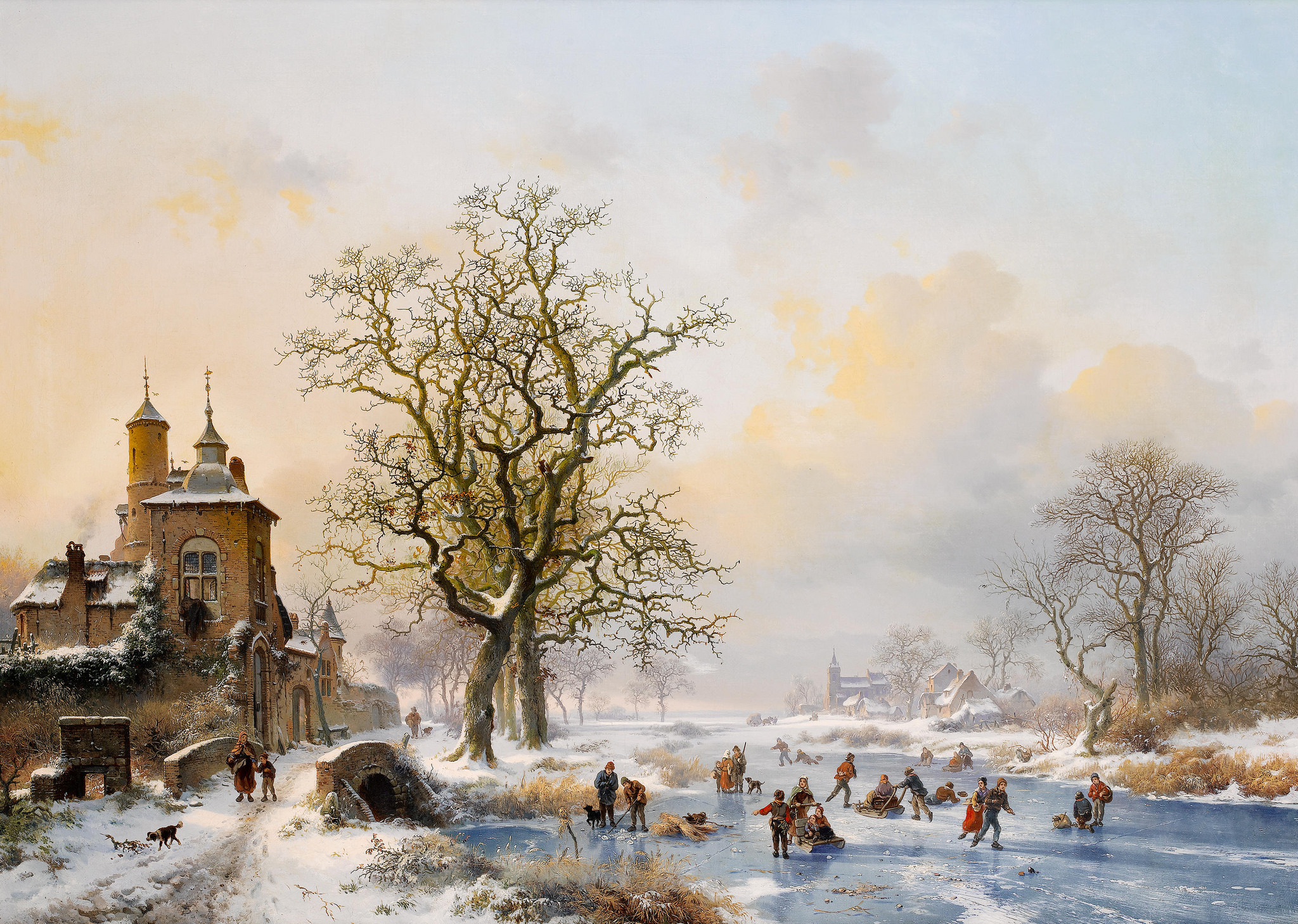 Fredrik Marinus Kruseman Winter landscape with skaters near a castle c.1857