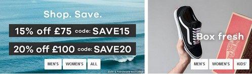 Промокод Surfdome. Скидка 15% и 20% на все товары за полную цену