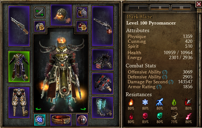 1 0 3 0] DarkBlaze gunslinger - chaos Pyromancer - Grim Dawn