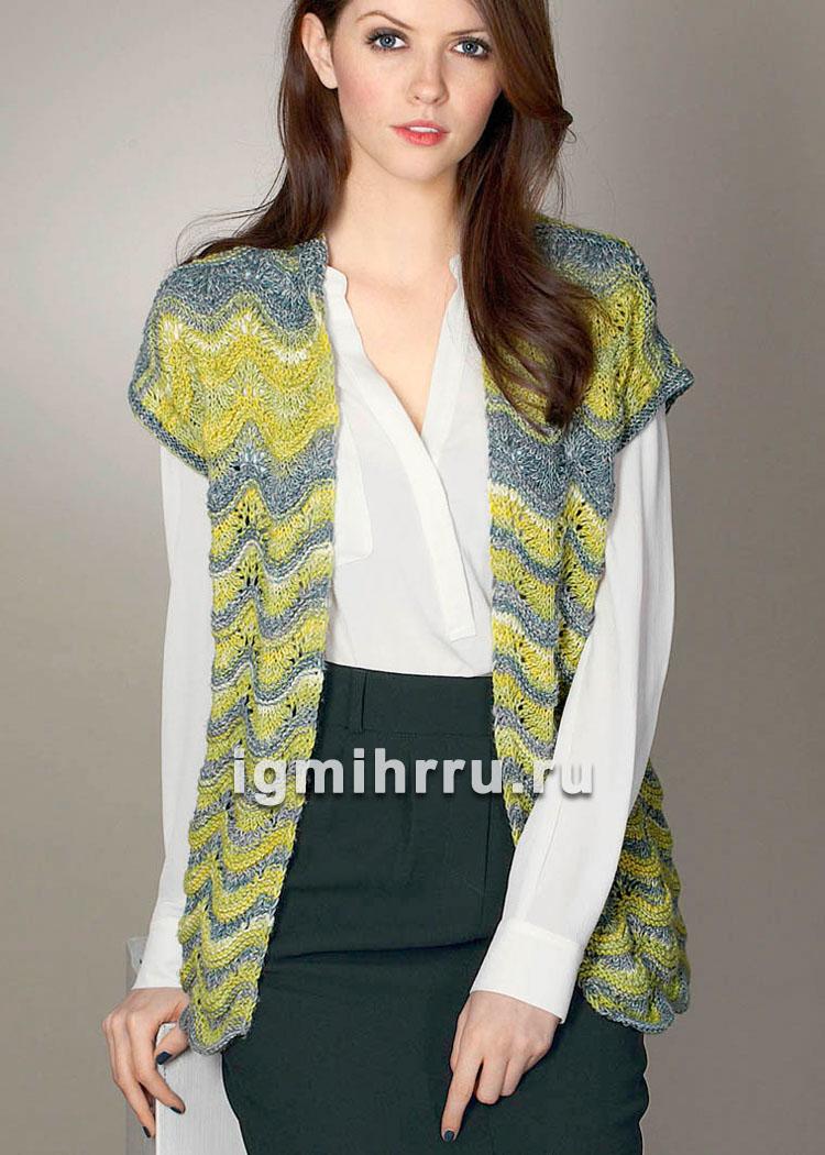Желто-серый шерстяной жилет с волнистым узором. Вязание спицами
