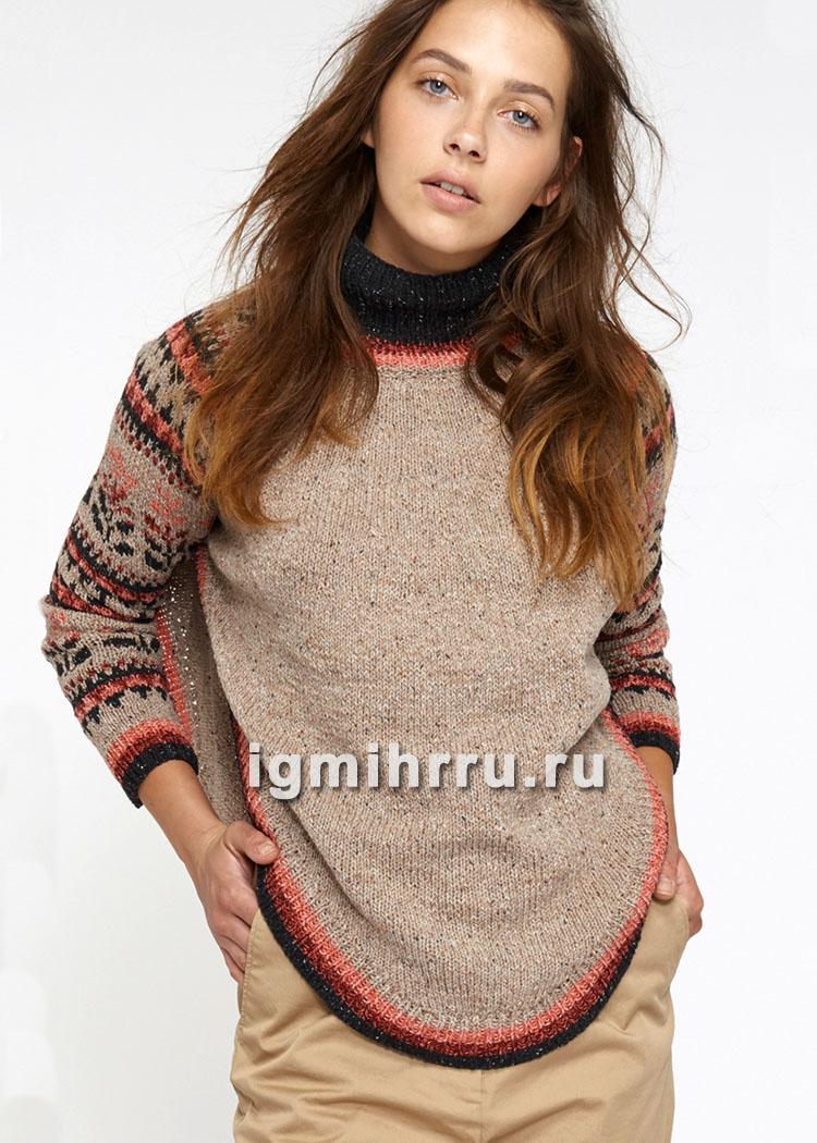 Пуловер-пончо с жаккардовыми рукавами. Вязание спицами