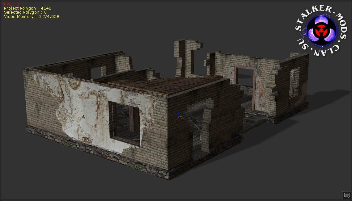 развалины дома - 3д модель