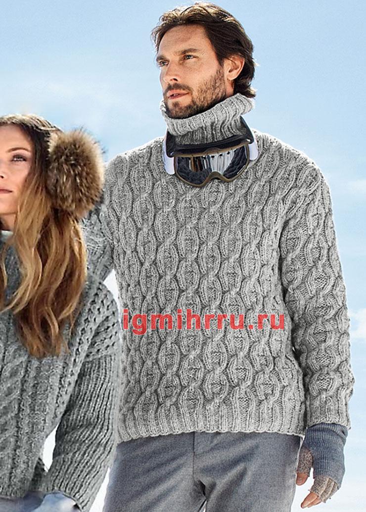 Серый мужской свитер из сплошных кос. Вязание спицами