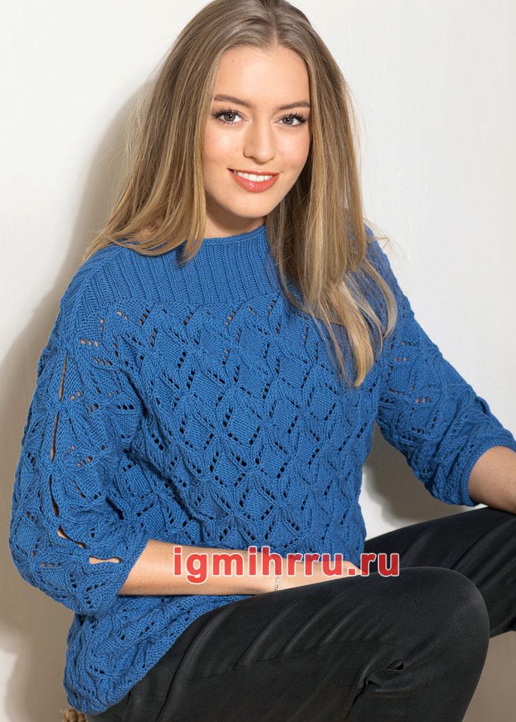 Ажурный синий пуловер с вырезами на рукавах. Вязание спицами