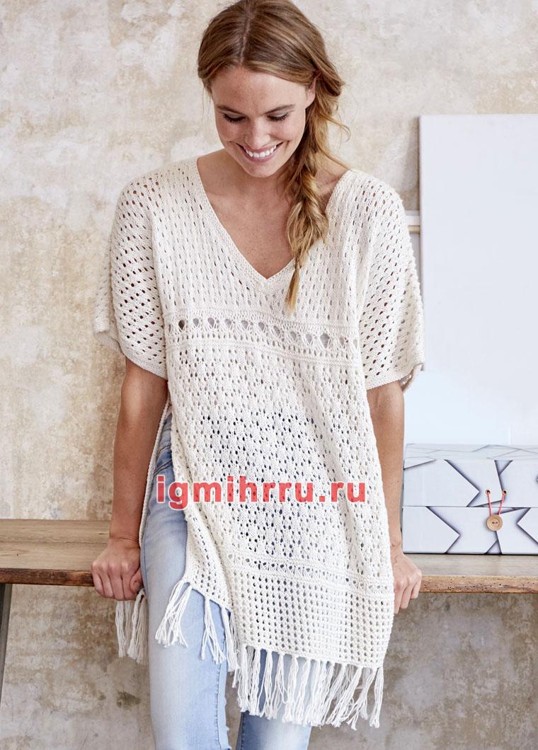 Белый легкий пуловер-пончо с миксом узоров. Вязание спицами