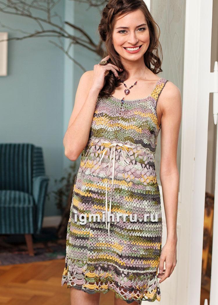 Ажурное мини-платье с высокой талией. Вязание крючком