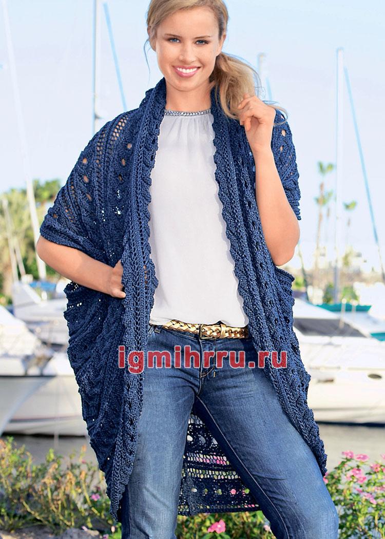 Объемный ажурный жилет, связанный единым полотном. Вязание спицами