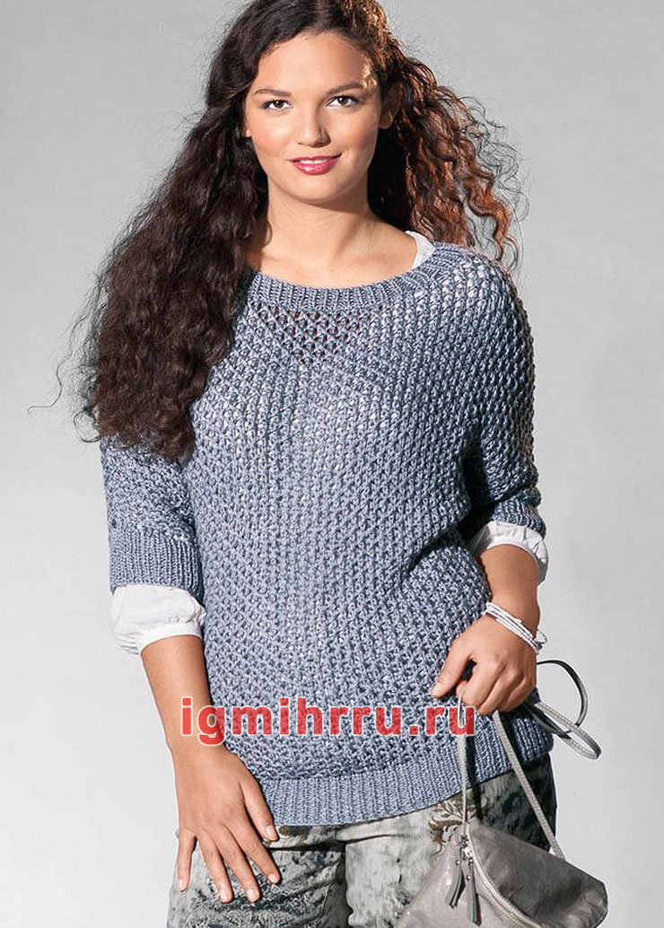 Большие размеры. Серый ажурный пуловер с цельновязаными рукавами. Вязание спицами