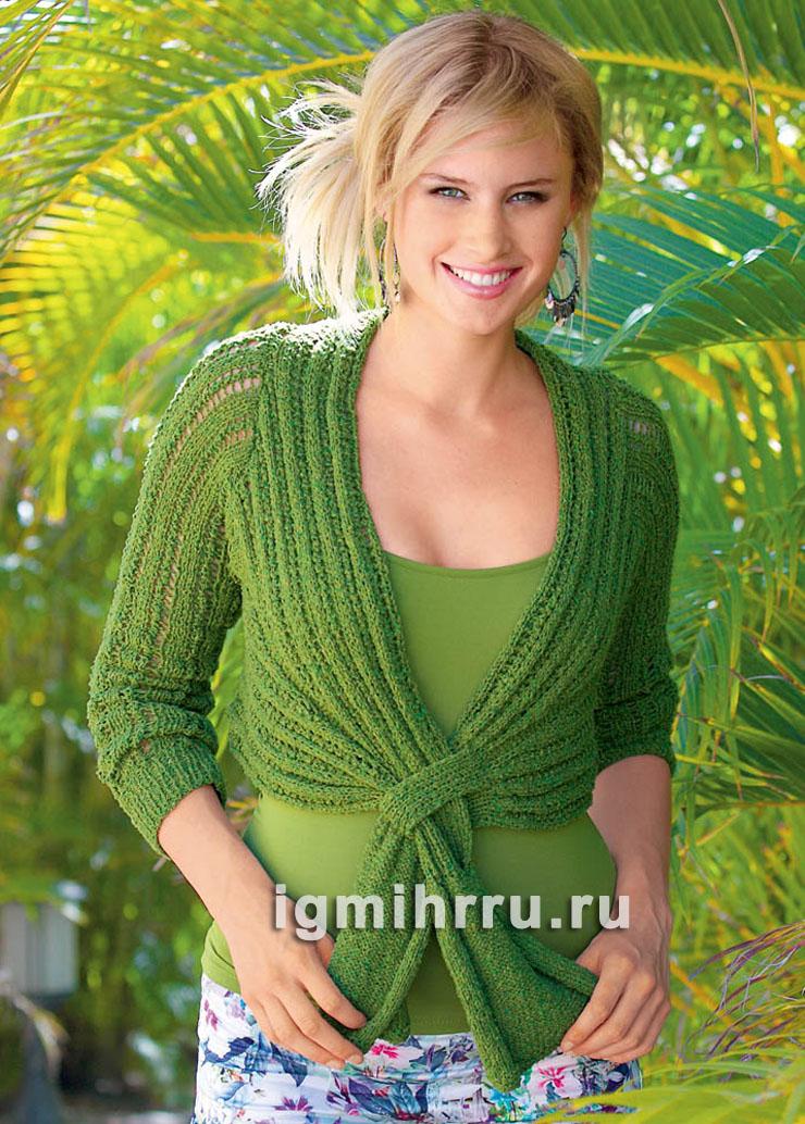 Зеленый жакет-болеро с ажурным узором. Вязание спицами