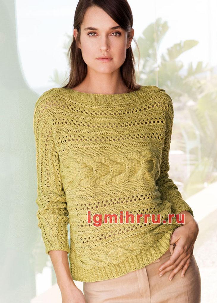Желто-зеленый узорчатый пуловер, связанный поперек. Вязание спицами