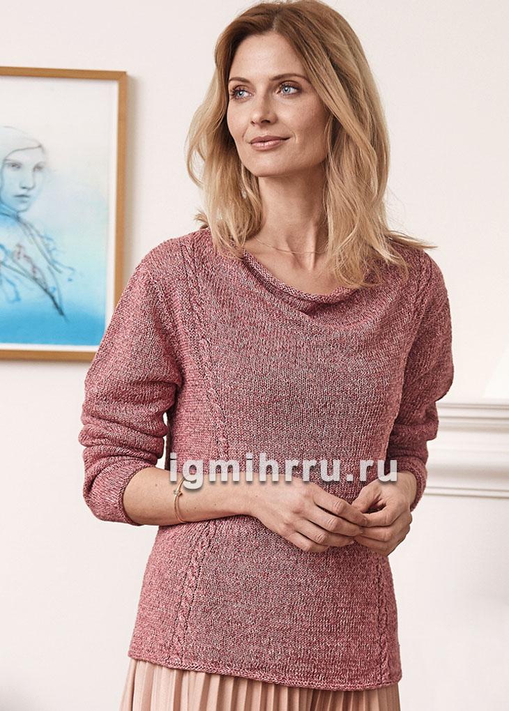 Легкий розовый пуловер с горловиной водопад. Вязание спицами