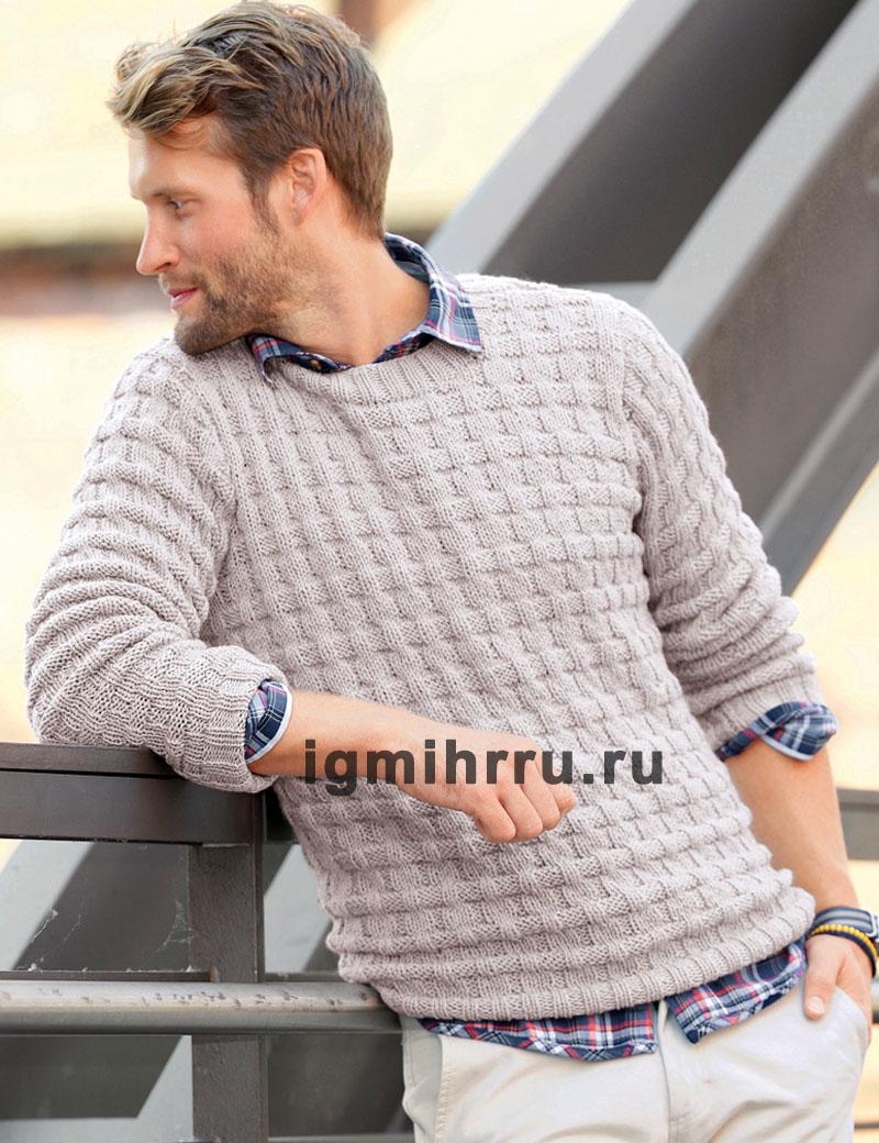 Мужской бежевый пуловер со смещенной резинкой. Вязание спицами