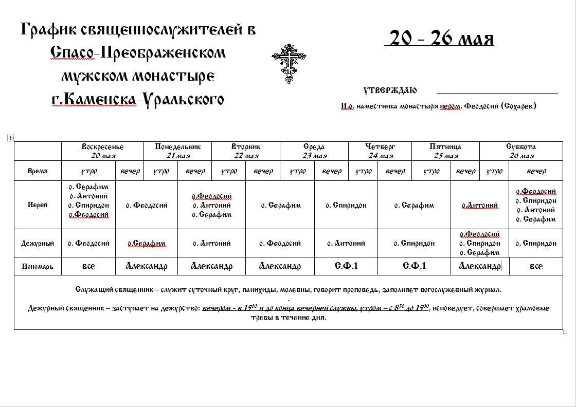 график священнослужителей