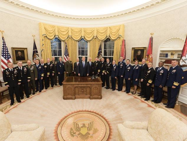TRUMP PARADES HIS GENERALS IN THE OVAL OFFICE