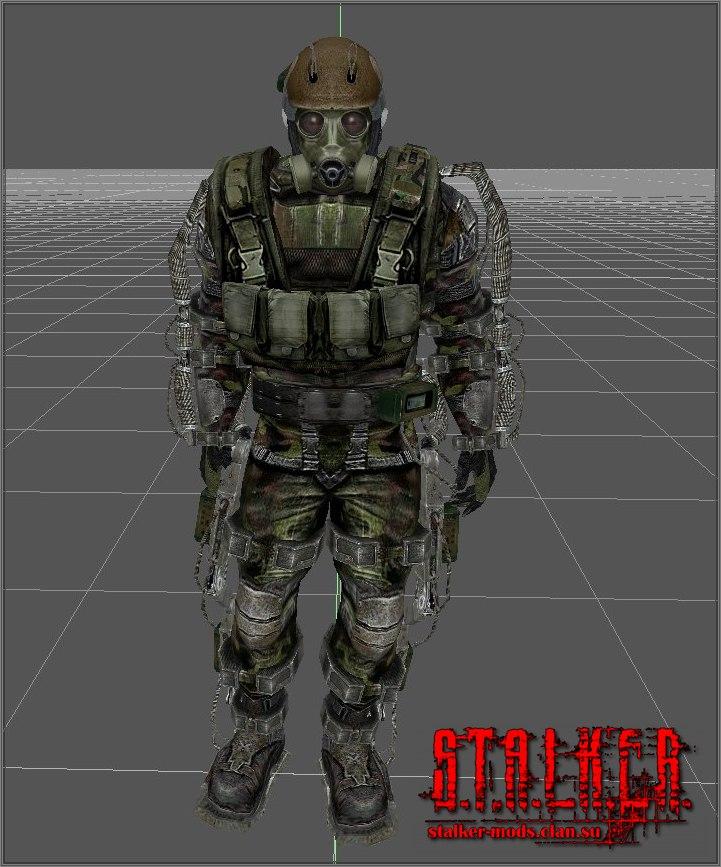 военный в экзоскелете