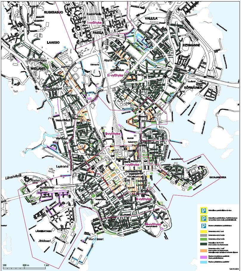 карта всех парковок Хельсинки