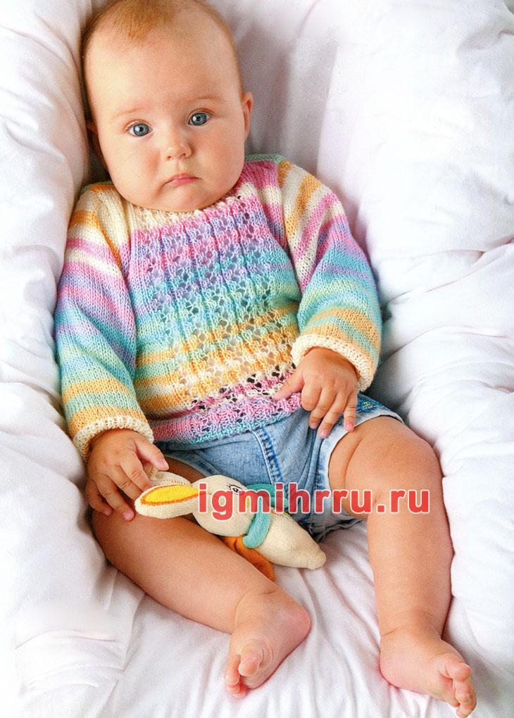 Разноцветный летний пуловер для малыша 5-6 месяцев. Вязание спицами