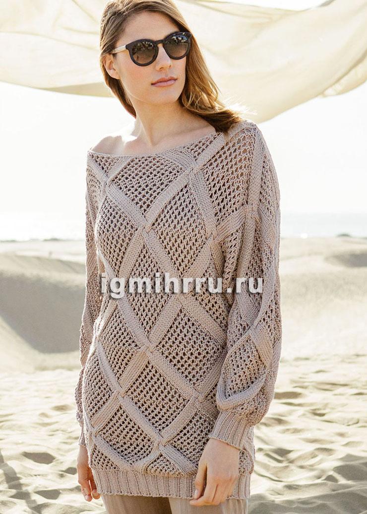 Шелковый пуловер с узором из крупных ромбов и рукавами летучая» мышь. Вязание спицами