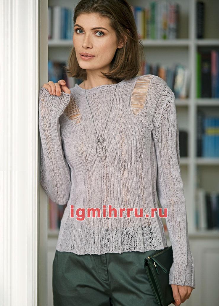 Льняной пуловер с нитяными протяжками на плечах. Вязание спицами