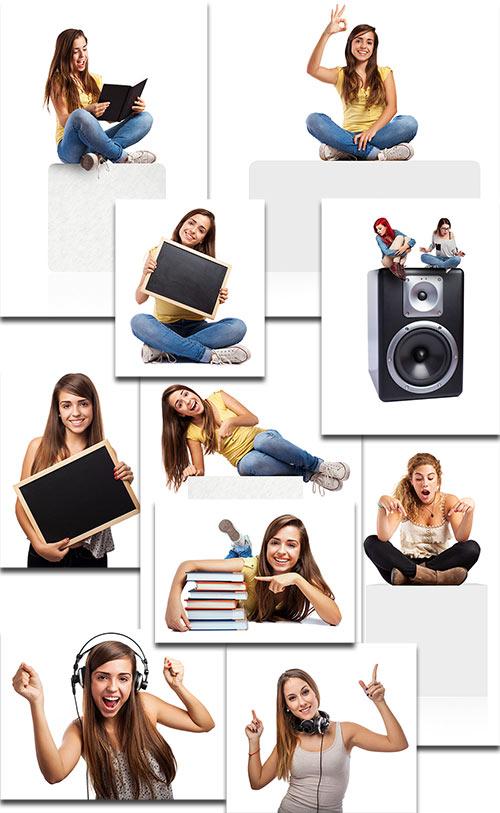 Девушки на белом фоне - Клипарт / Girl on a white background - Clipart