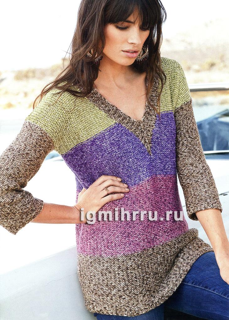 Удлиненный пуловер из разноцветной меланжевой пряжи. Вязание спицами