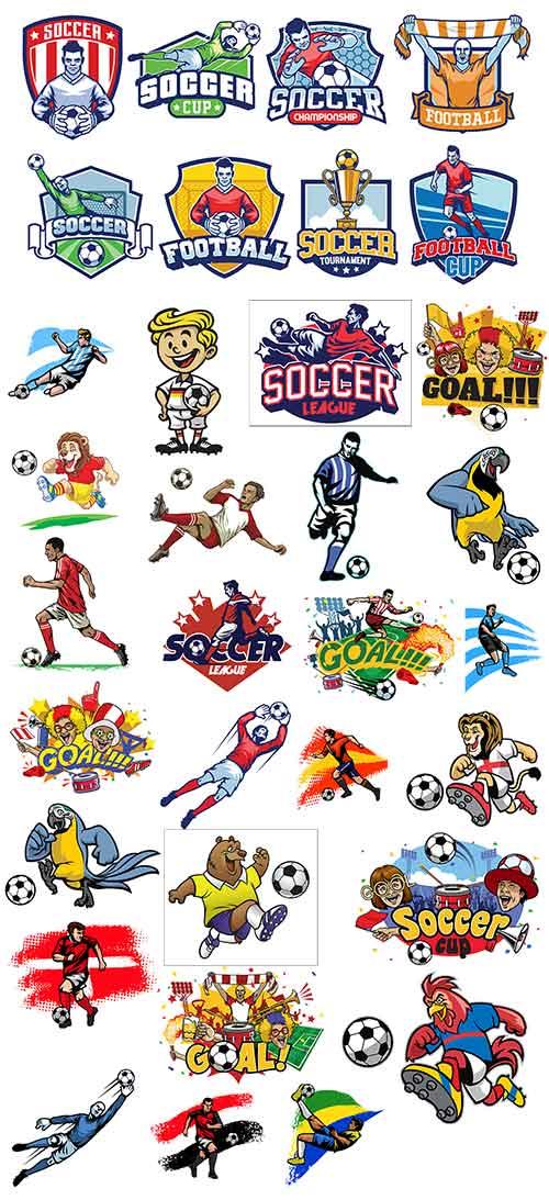 Футболисты и фанаты - Векторный клипарт / Soccer players and fans - Vector Graphics