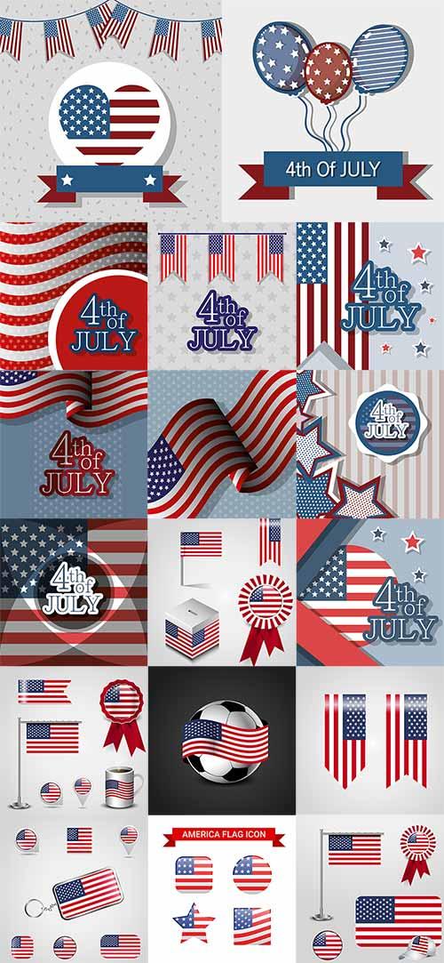 4 июля. Символика США - Векторный клипарт / 4th of July. USA Symbolics - Vector Graphics