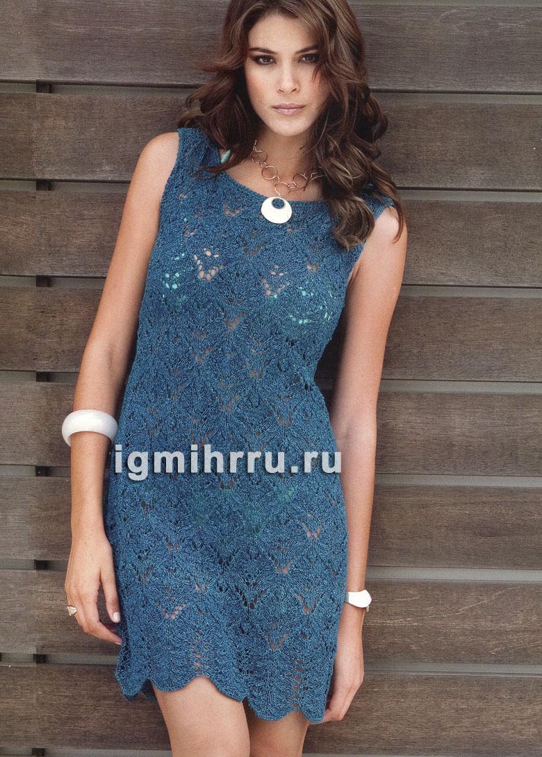 Темно-синее ажурное платье с низом фестонами. Вязание спицами