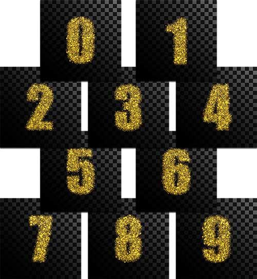 Цифры в золоте - Вектор / Figures in gold - Vector